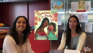 Padma Lakshmi (l) and her editor, Tamar Brazis, discussed Lakshmi's forthcoming children's book, Tomatoes for Neela, at the U.S. Book Show, May 27, 2021